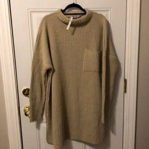 NWT Tan Oversized Mock neck Sweater Dress
